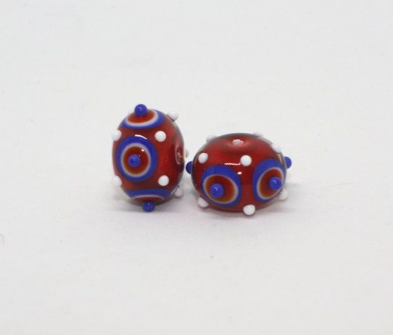 Set of 2 Donut Beads  10 mm x 15 mm  Blue от GlassNatalyaDarlin