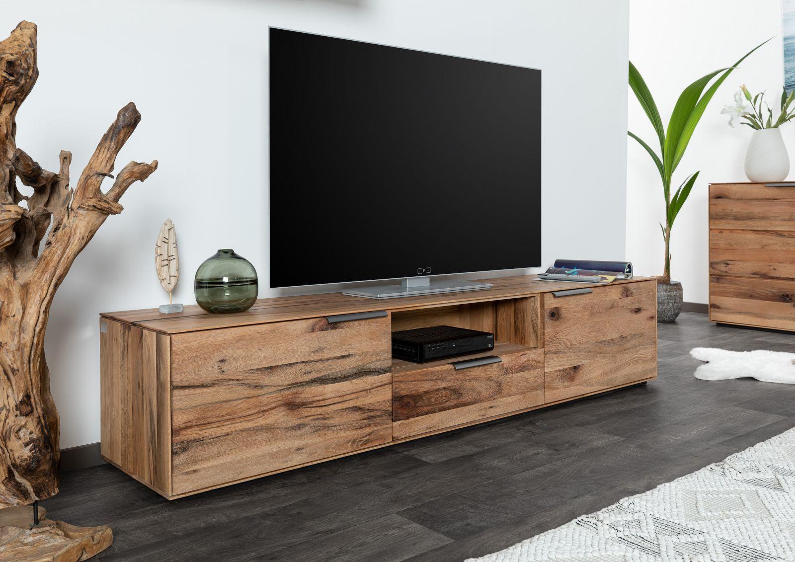 Tv Board Zerreiche 200x42x41 Natur Geolt Torino 04 Fernsehtisch Holz Tv Stander Gunstig Mobel Kaufen