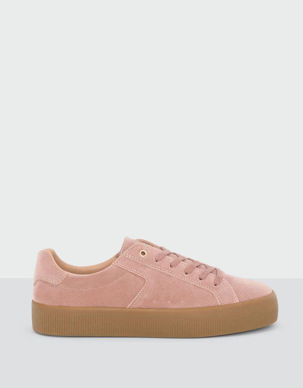 Belle Rose Pastel Brillante Lacer Chaussures De Sport Pour Les Femmes Esprit DYibb