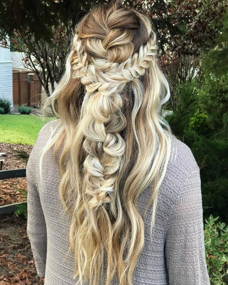 Braid Hairstyles For Wedding Party: Beautiful Half Down Half Up Braided Hairstyle With Curls
