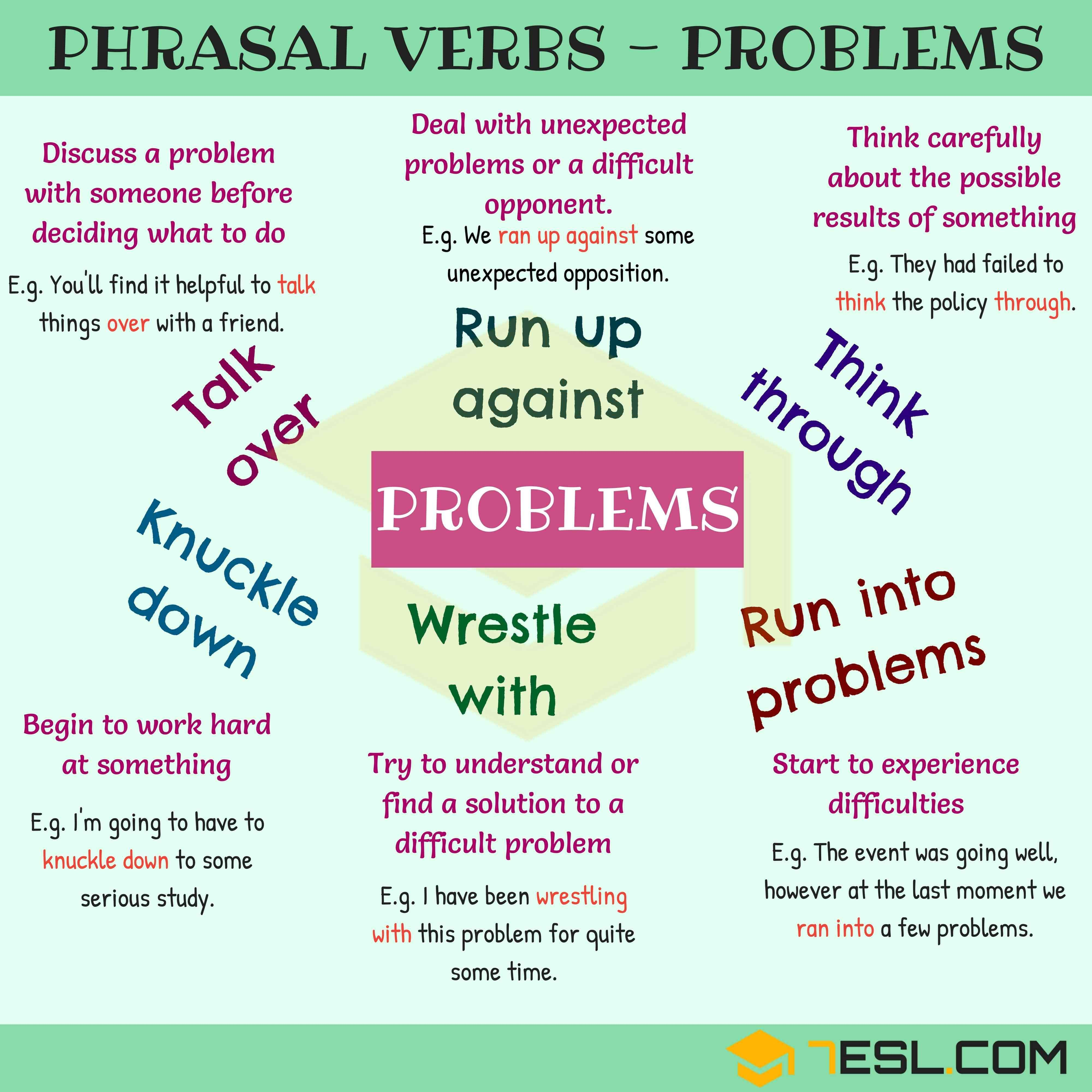 Common Phrasal Verbs For Talking About Problems In English