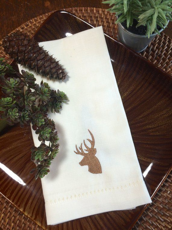 Deer Cloth Napkins, deer napkins, reindeer napkins, deer antler cloth napkins, hunting gift, deer gi #clothnapkins