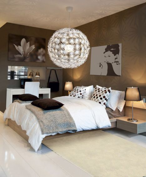 Love everything but the big lamp I would hit my head on it - lampe für schlafzimmer