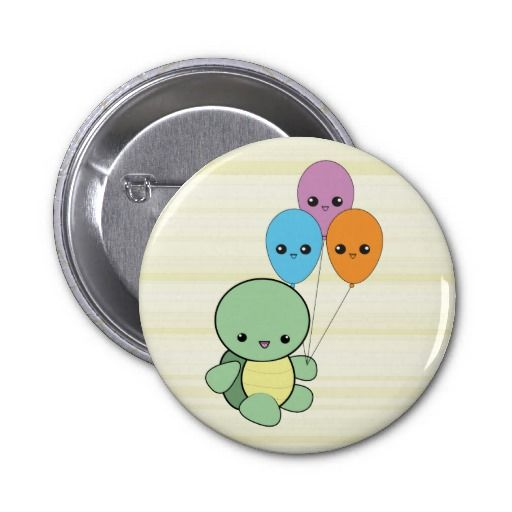 Kawaii Turtle with Balloons button