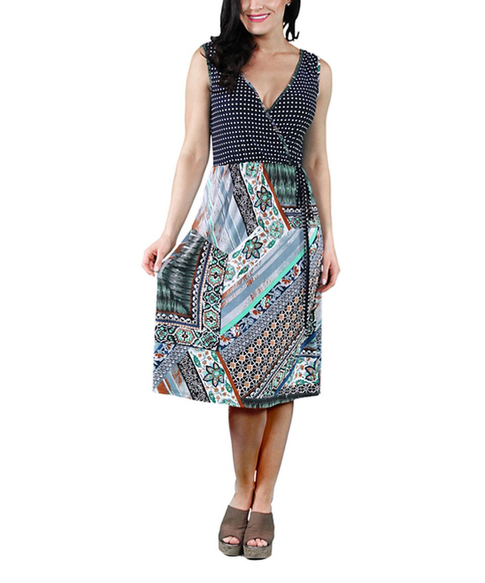 Look at this #zulilyfind! 24/7 Gray & Blue Geometric Pipe Wrap Dress by 24/7 #zulilyfinds