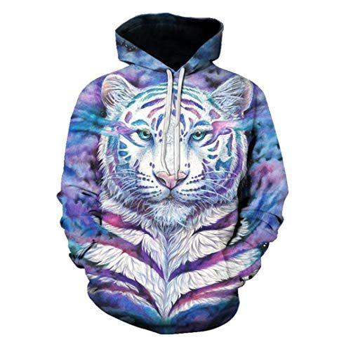 e0be1ce3fd82 XINGMU Sweat-Shirt Et Sweat-Shirt Imprimé en 3D Tigre De Couleur Robe À  Manches Longues Pull M