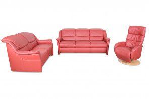 Leder Garnitur 3 2 1 Mit Relax Rot Couchgarnitur Couch Modernes Sofa