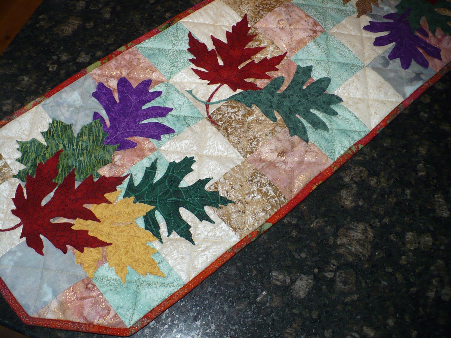 Fall Leaves Applique Table Runner Raw Edge Appliqued Leaves Machine Quilted In Soft Pastels Fall Wall Hanging Fall Dresser Runner Applique Table Runner Raw Edge Applique Machine Quilting