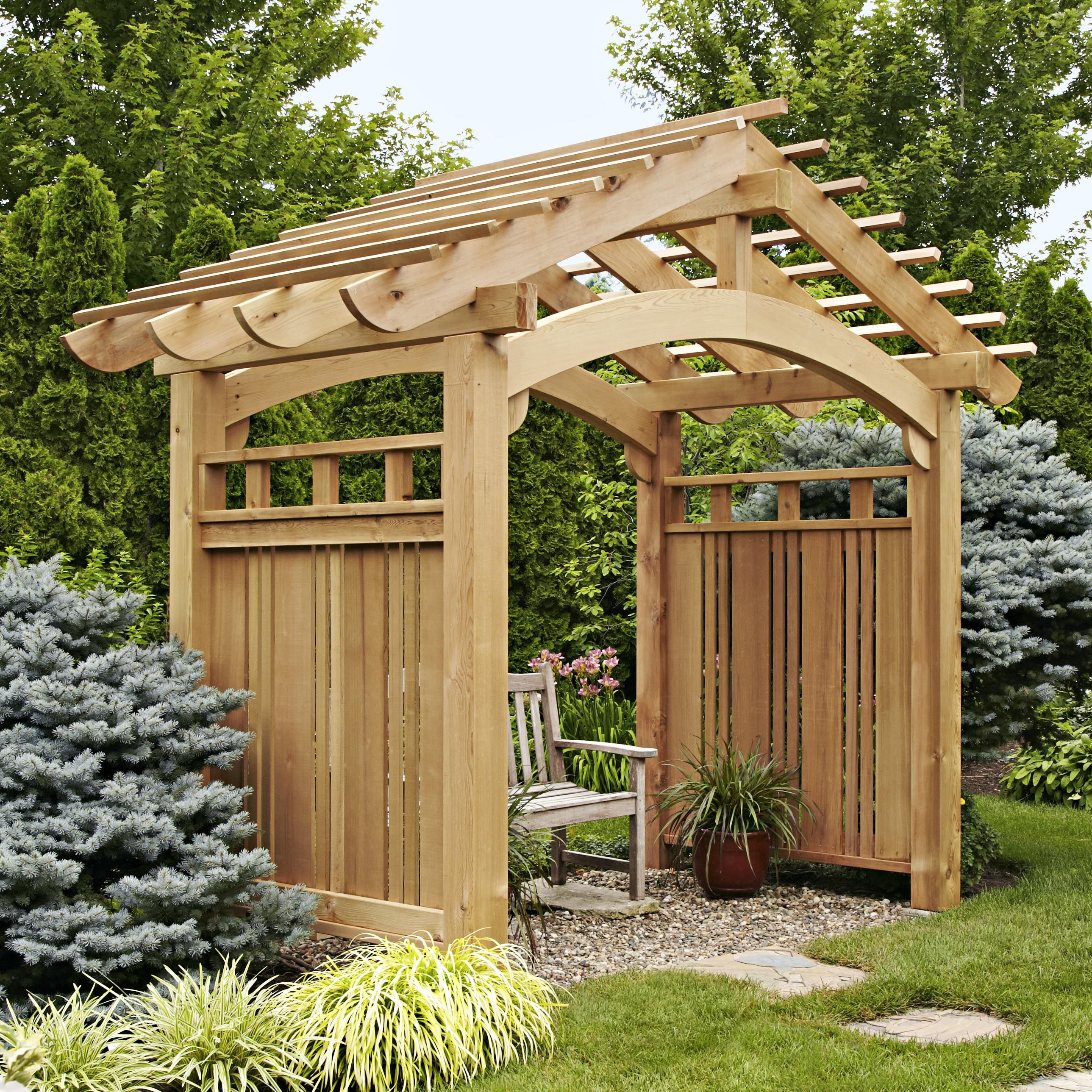 Arching garden arbor woodworking plan outdoor backyard for Timber garden arch designs