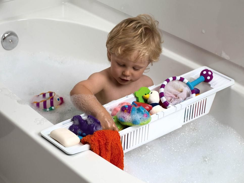 This adjustable bath storage basket from Kid Co. will keep you and your kids entertained while they are in the tub. It's lightweight and easy to clean. Plus, it holds lots of toys, bubble bath, soap and a washcloth.