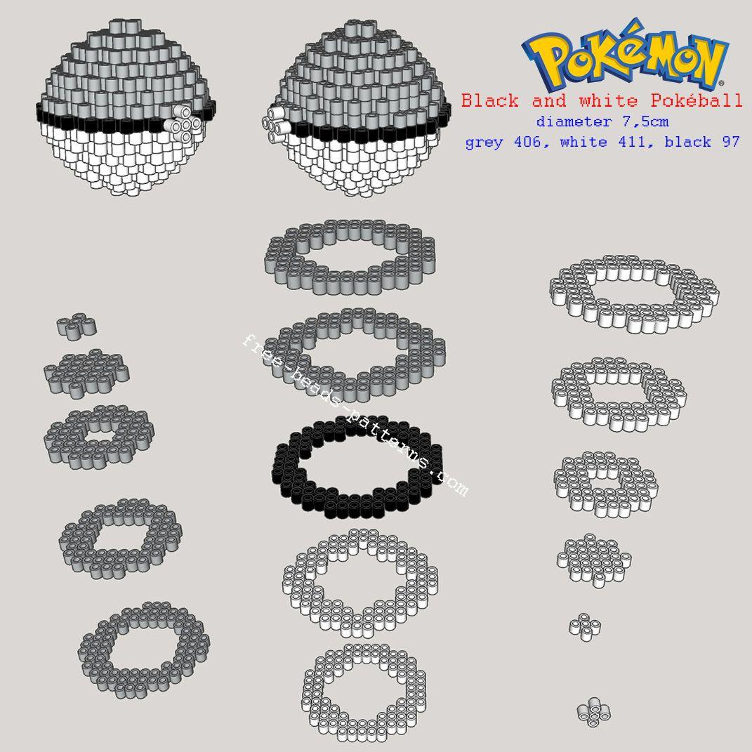 Black and white Pokemon Pokeball 3D perler beads pattern tutorial ...