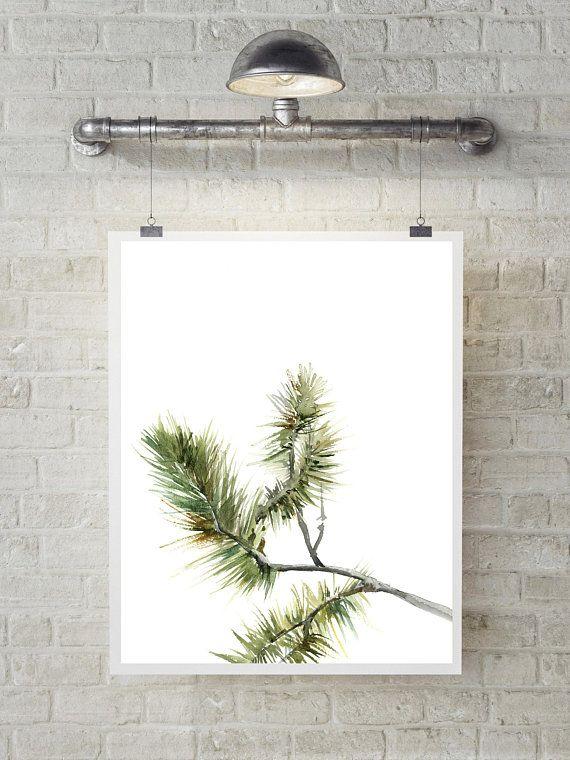 Minimalist Pine Tree: Minimalist Greenery Fine Art Print, Pine Tree Branch Green