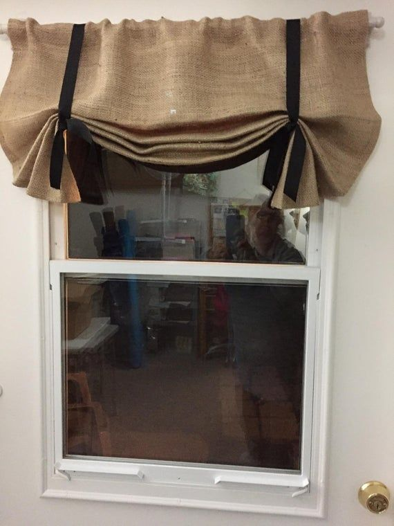 Burlap Window Valance, 24 - 108 W X 14L , 'The LIL HEMINGWAY in BURLAP'  with Choice of Ribbon Ti #burlapwindowtreatments