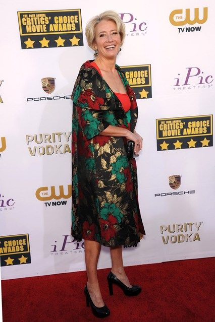 Critics Choice Awards 2014 - Emma Thompson in a Vintage Coat and Alexander McQueen Dress.