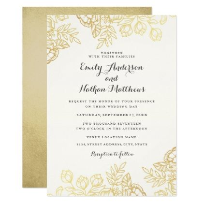 Elegant gold vintage floral wedding invitation floral wedding elegant gold vintage floral wedding invitation floral wedding weddings and wedding invitation cards stopboris Images