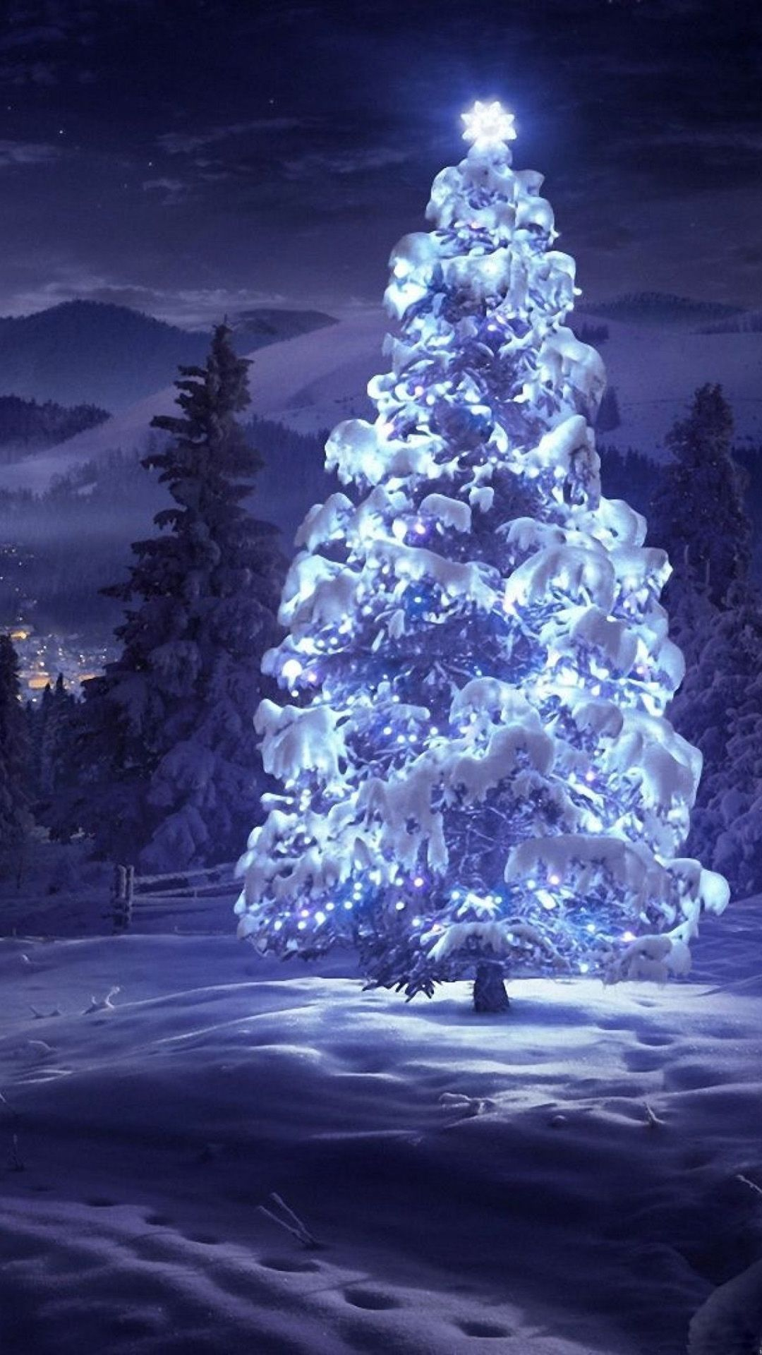 Christmas Tree Snow Blue Lights Android Christmas Scenery Christmas Tree Wallpaper Christmas Wallpaper Hd