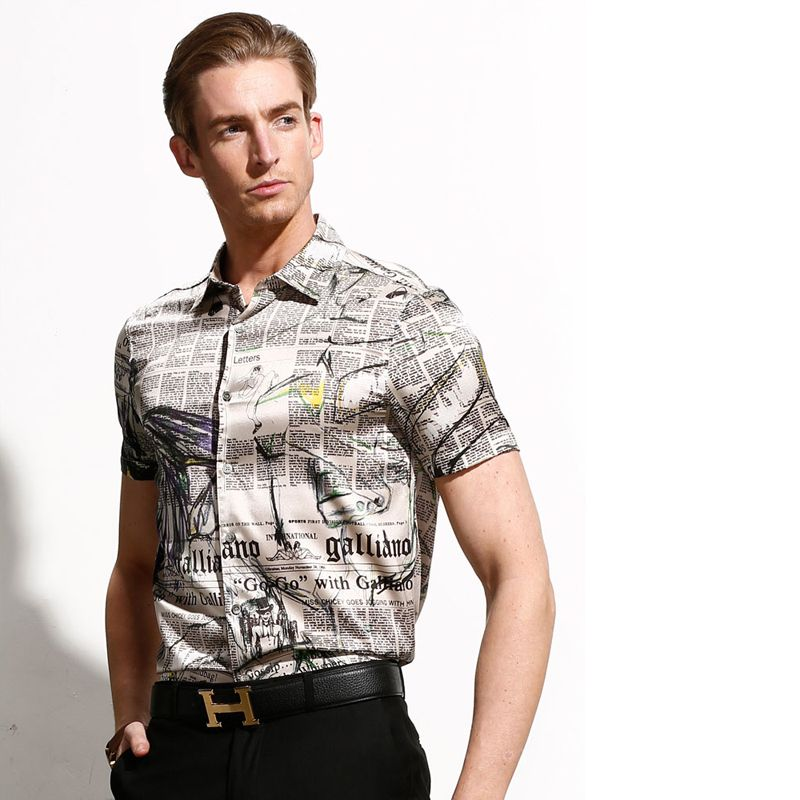 Black And White Newspaper Print Button Down Short Sleeve