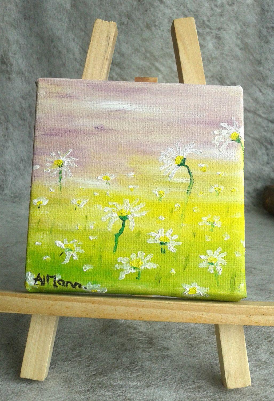 Daisy art, mini painting, mini flowers, mini easel, tabletop decor ...