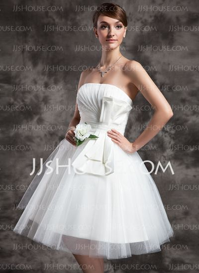 Wedding Dresses - $136.99 - A-Line/Princess Strapless Tea-Length Satin Tulle Wedding Dress With Ruffle (002024070) http://jjshouse.com/A-Line-Princess-Strapless-Tea-Length-Satin-Tulle-Wedding-Dress-With-Ruffle-002024070-g24070