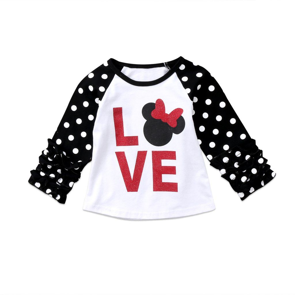 Minnie Mouse LOVE Red & Black Polka Dot Raglan Ruffle Sleeve Girls ...