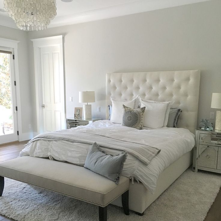 Paint color is silver drop from behr beautiful light warm for Bedroom color inspiration pinterest