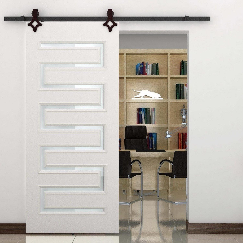 HomCom Rustic 6\' Interior Sliding Barn Door Kit Hardware Set - Black ...