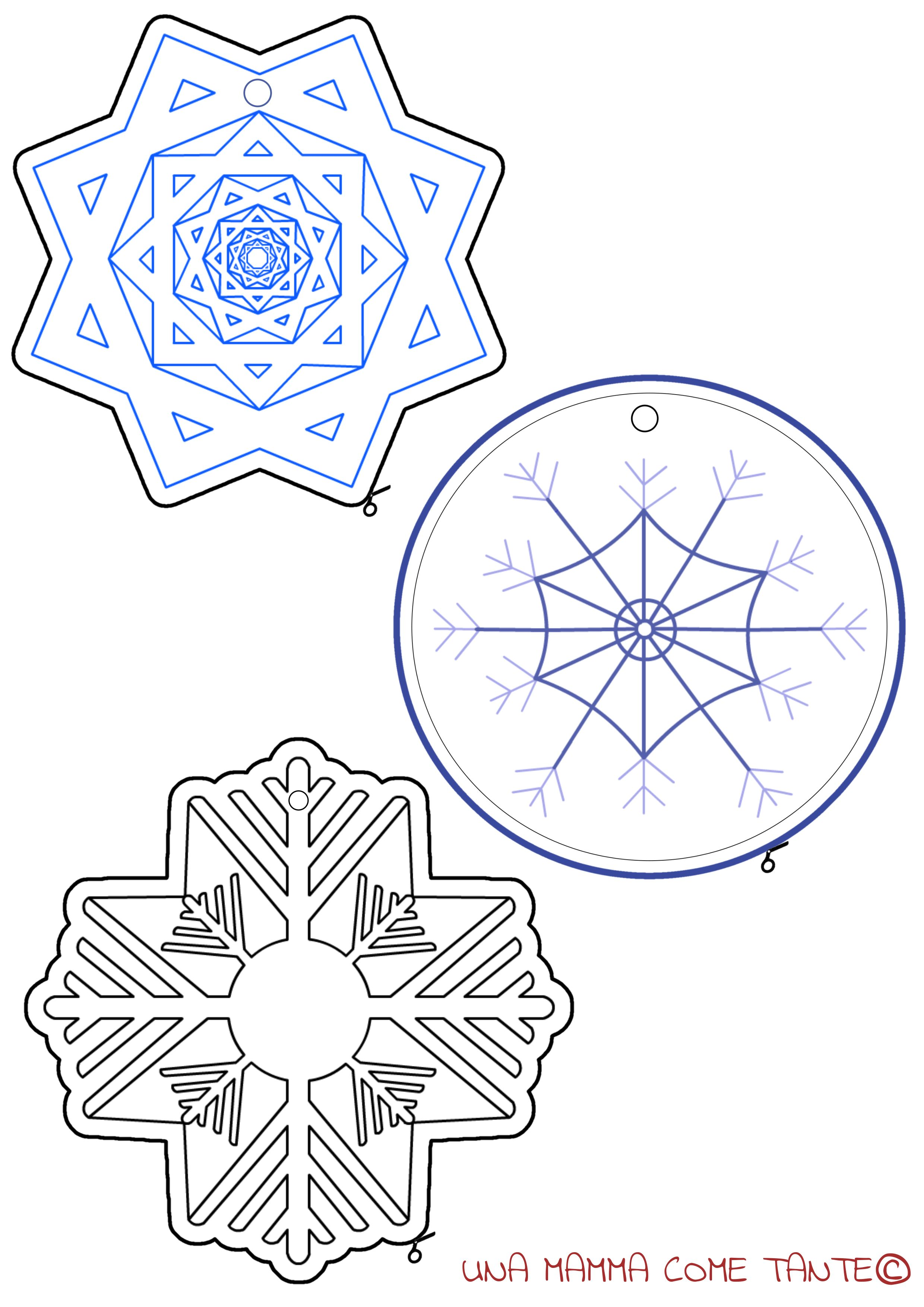 Fiocchi di neve da colorare ritagliare e appendere for Fiocco di neve da ritagliare