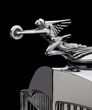 1930 S Packard S8 Hood Ornament Chrome Winged Woman