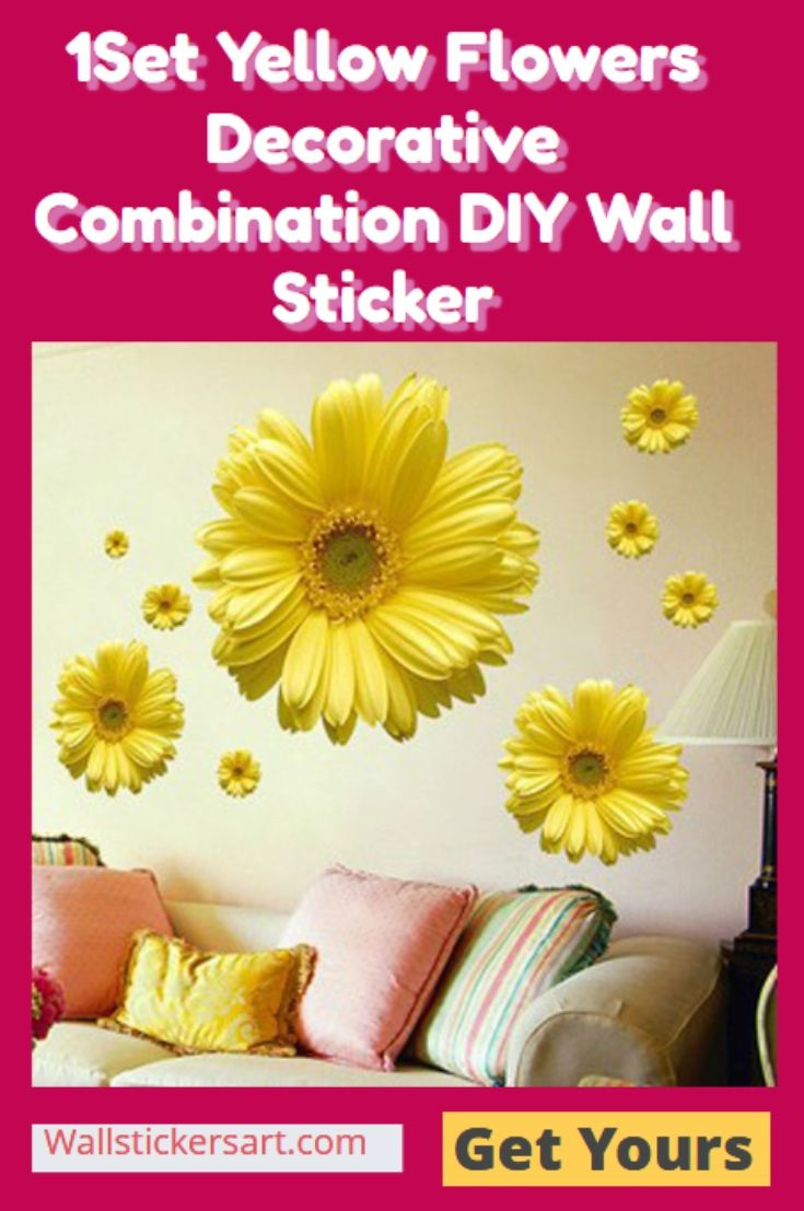 1Set Yellow Flowers Decorative Combination DIY Wall Sticker  Material: vinyl Applicable: on smooth walls, walls, doors, glass, cabinets, appliances Etc. Commodity size::45x60cm Effect size::80x60cm  Free Shipping  #bedroomwallstickers #wallstickers #wallstickersforbedroom #walldecalsforbedroom #bedroomwalldecals #wallpapper #wallstickersonline #wallstickersforbedrooms #3dwallstickersforbedrooms #wallart #wallvinyl #bedroomwallart #bedroomwallartstickers #bedroomwalldecor