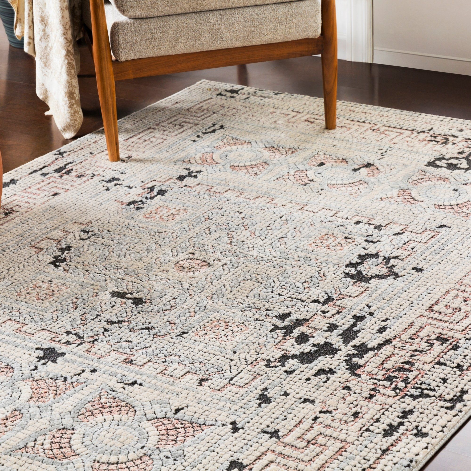 Shop Padua Blush Gray Distressed Mosaic Area Rug 5 3 X 7 3 On Sale Free Shipping Today Overstock 21721073 Area Rugs Colorful Rugs Rugs