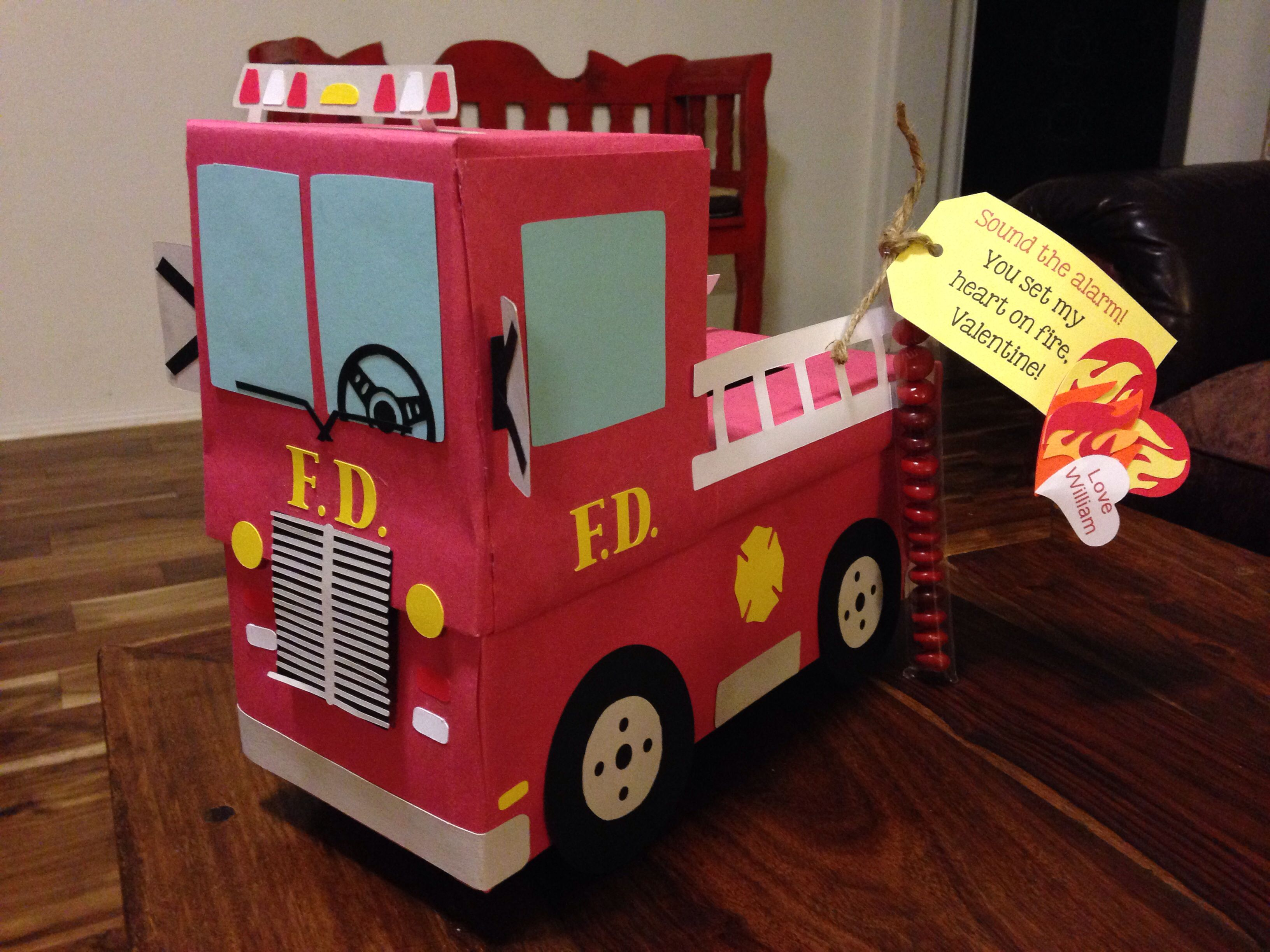 Toys toy boxes and fire trucks on pinterest - Fire Truck Valentine S Box And Treat For My Little Firefighter