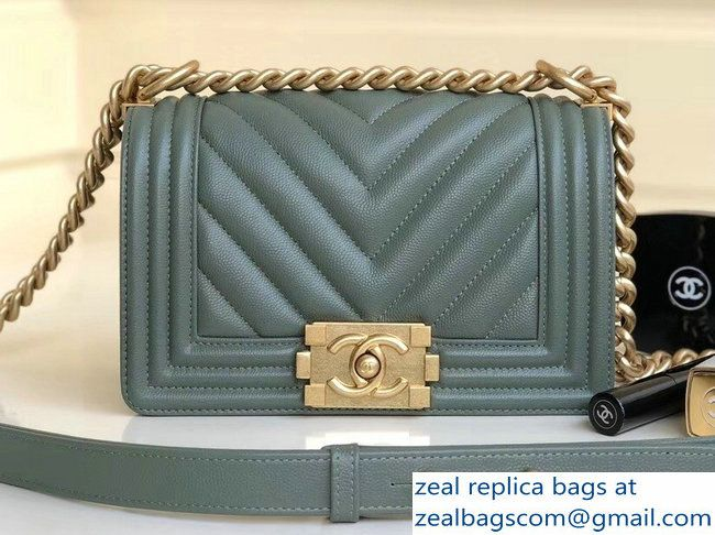045afd363559 Chanel Caviar Leather Chevron Boy Flap Shoulder Small Bag Gray Green with  Gold Hardware 2018