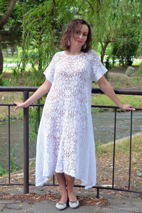 16d6e3796b0 Вязаное крючком бохо-платье