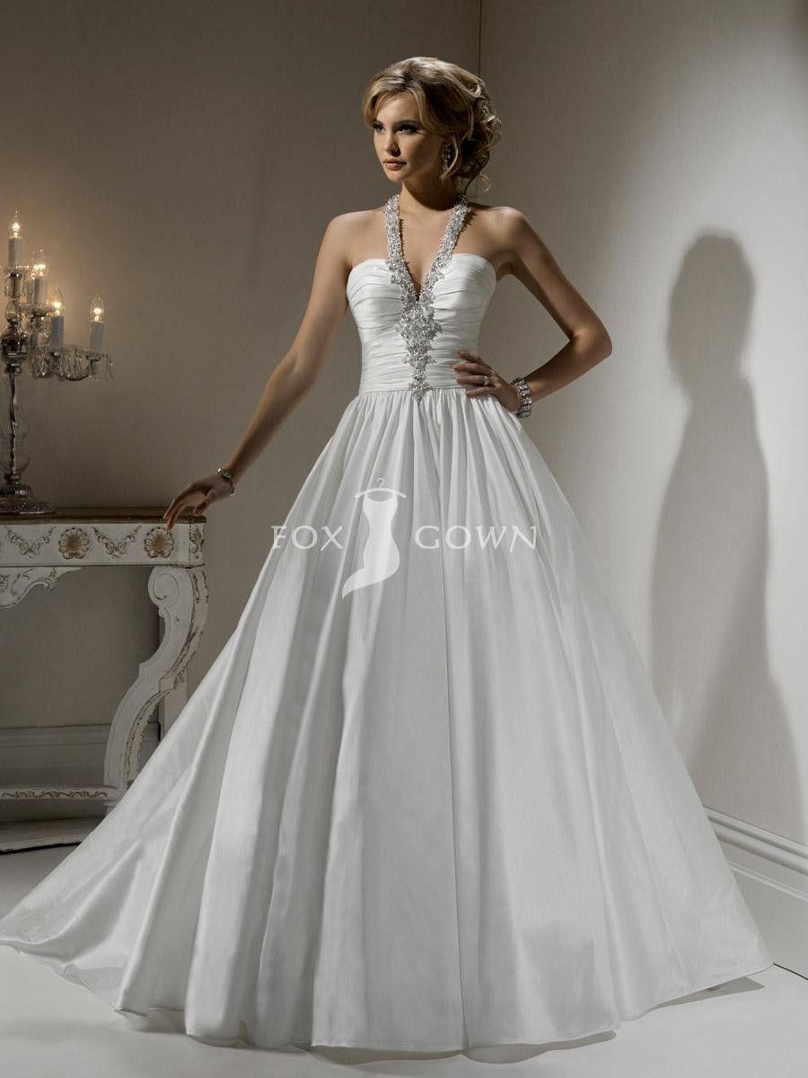 Sexy Taft Ballkleid mit Perlen verziert weißen Hochzeitskleid Neckholder $363.12 Hochzeitskleider
