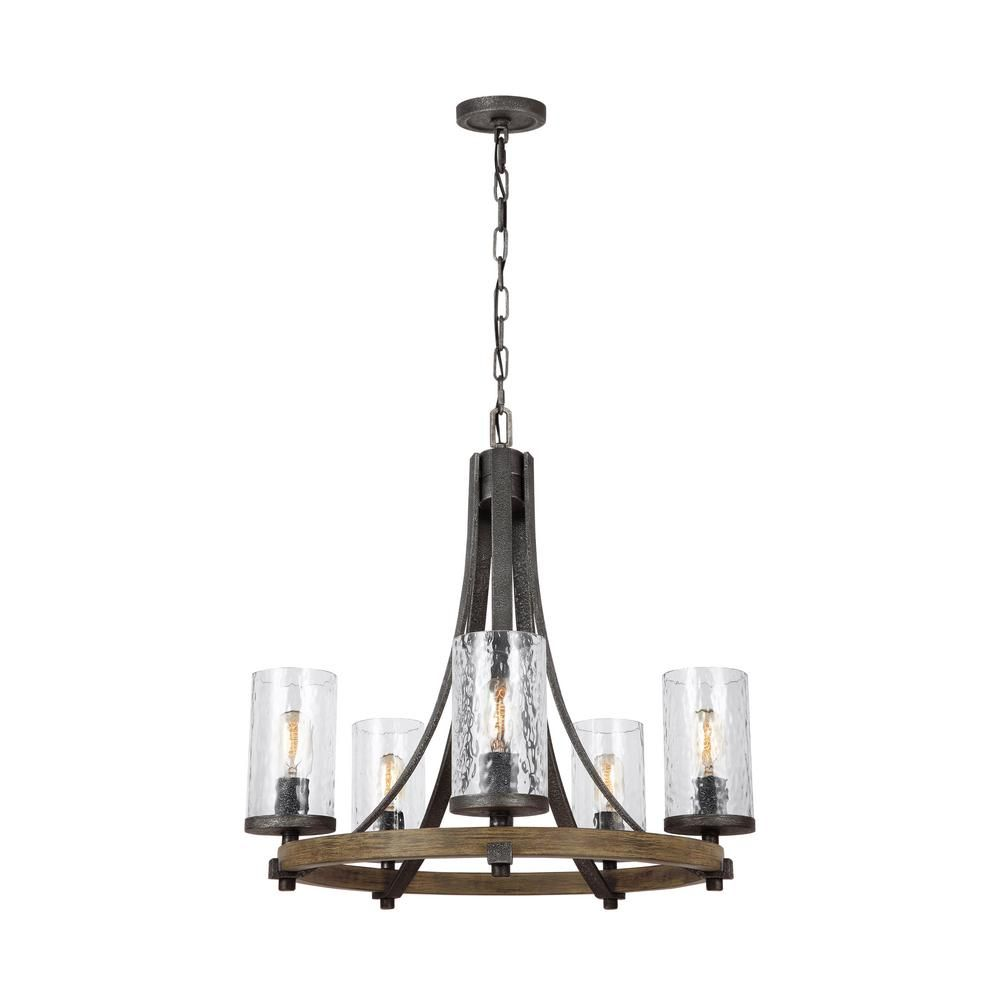 Feiss Angelo 24 In. W. 5-Light Distressed Weathered Oak