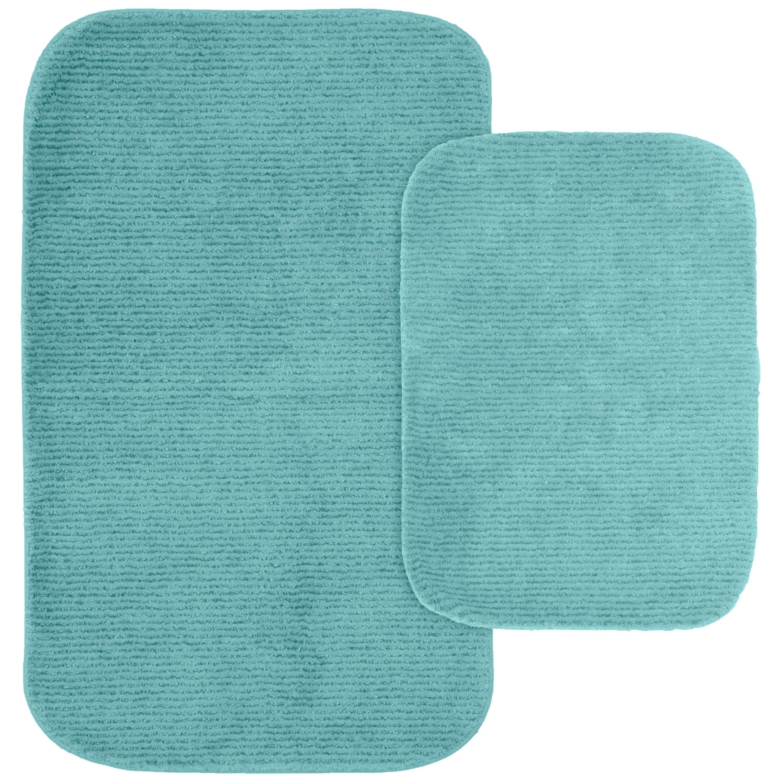 Glamour Sea Foam 2pc Nylon Washable Bathroom Rug Set Sea Foam 17 X 24 21 X 34 Blue Washable Bathroom Rugs