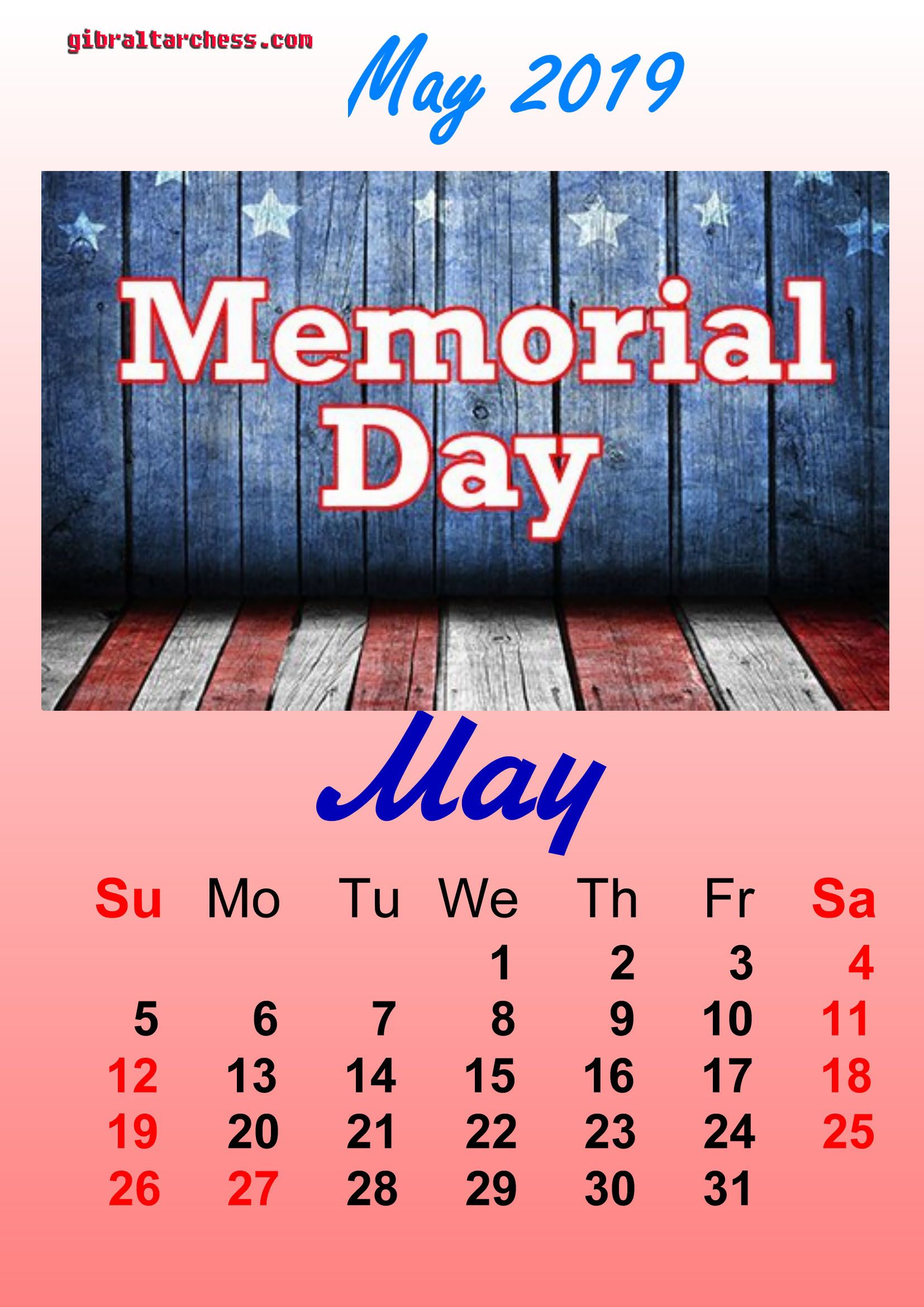 May 2019 Calendar Memorial Day 1 May 2019 Holidays Calendar Memorial Day | Calendar Template