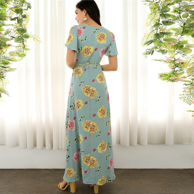 22316284f0 Boho Surplice Neck High Split Floral and Dot Maxi Dress - Power Day Sale