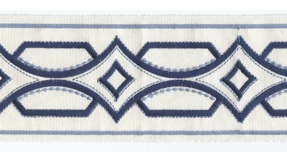 Zn 209 A 390a Navy And Off White Embroidered 4 Decorative Border Tape Trim Richtex Fabrics Furnishings Decorative Borders Fabric Decor Decor