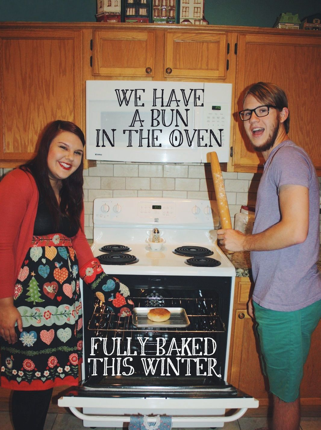 our bun in the oven pregnancy announcement