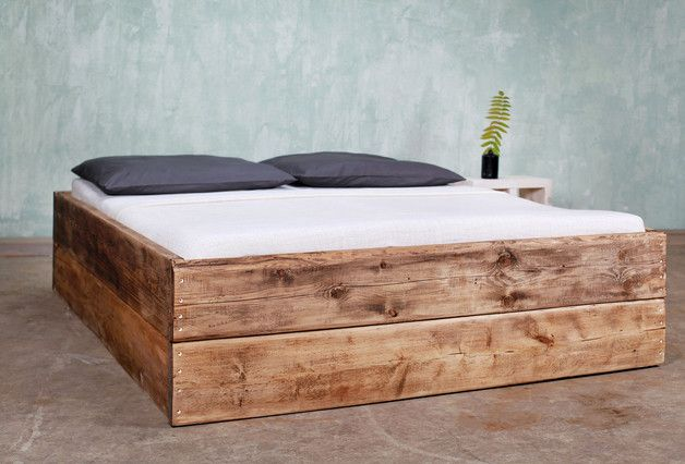 Bauholz Bett Changy 160 X 200 Cm Etsy Wooden Bed Timber Beds Classic Bedroom