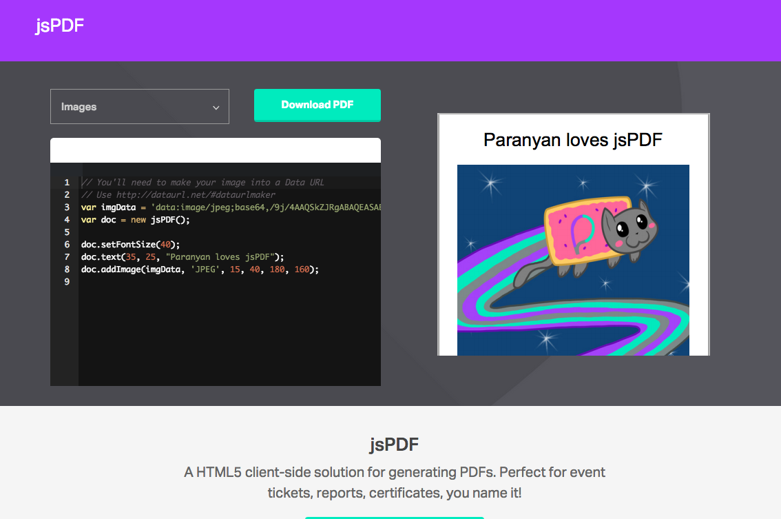 jsPDF - HTML5 PDF Generator Simply include the jsPDF library in your