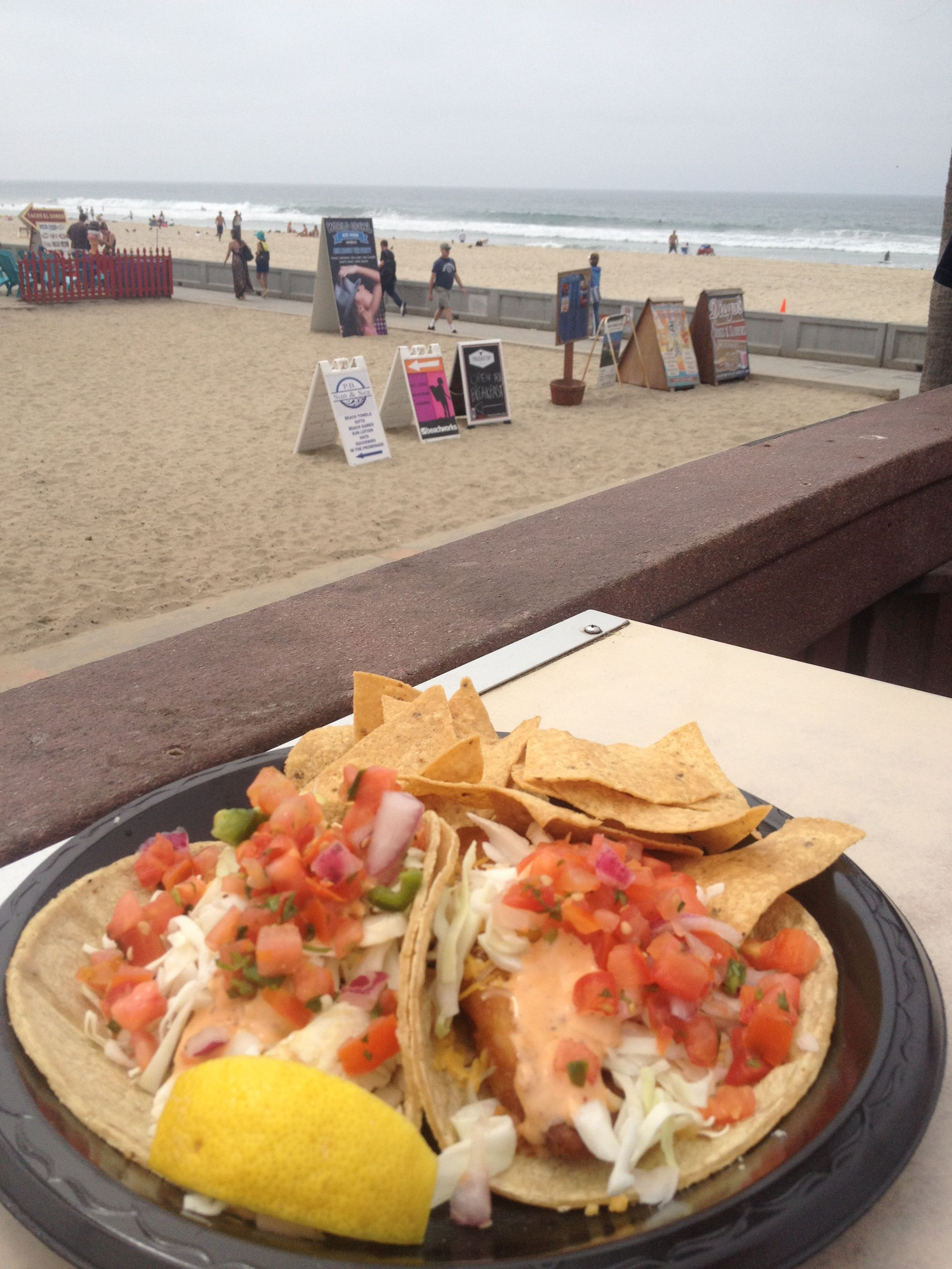 Fish Tacos at Lahaina Beach House in Pacific Beach. Great