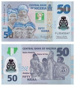 Nigeria 50 Naira 2010 Polymer Commemorative Issue P 37 Banknotes
