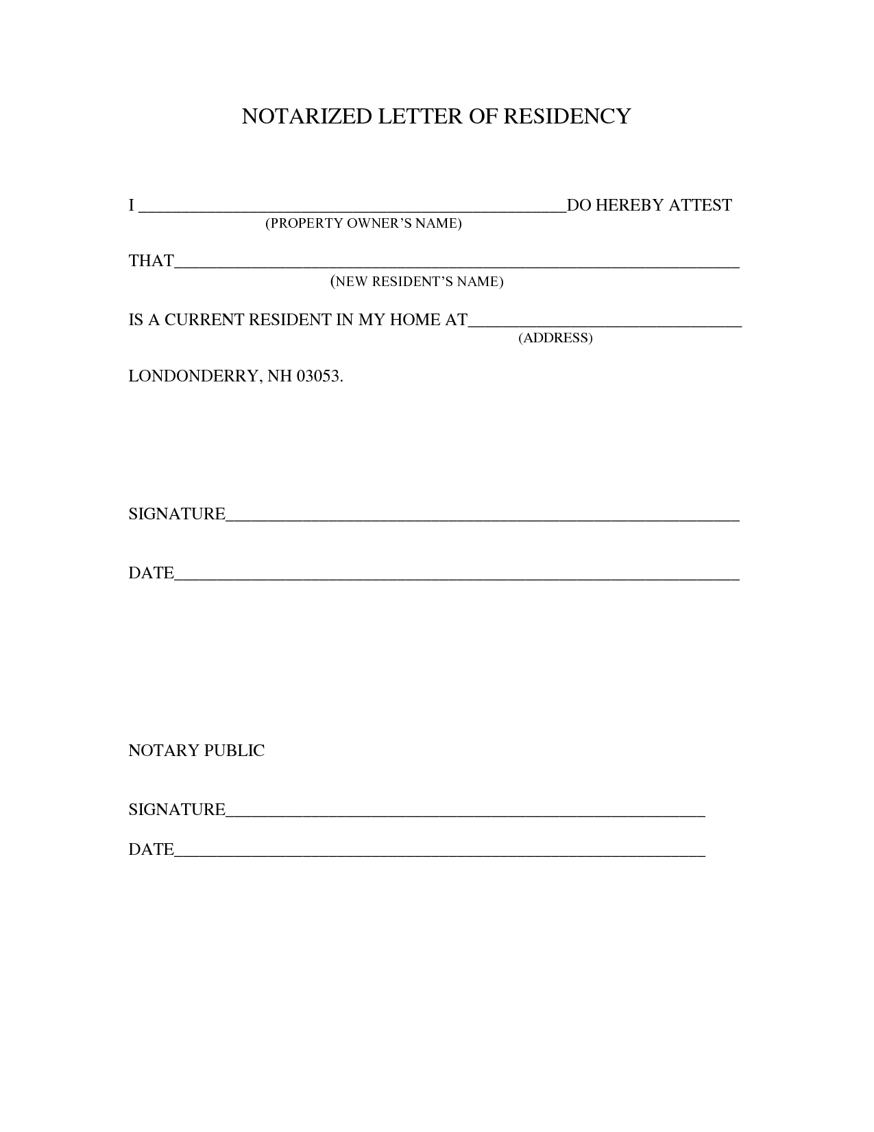 Sample Notarized Letter Template