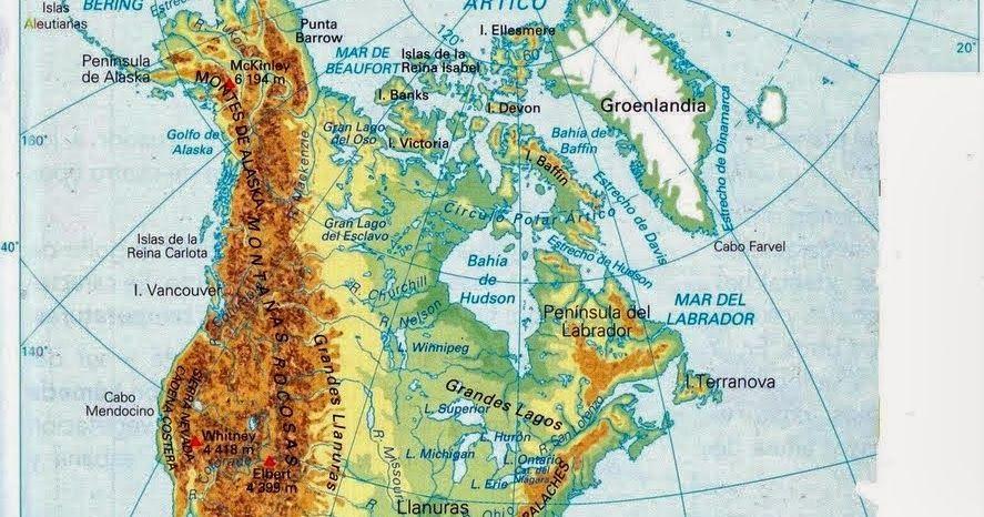 Mapa Físico América Del Norte Mapa Físico América Del Sur Mapa Interactivo Norteamérica Mapa America Del Norte Mapa Mapa De America Actividades De Geografía