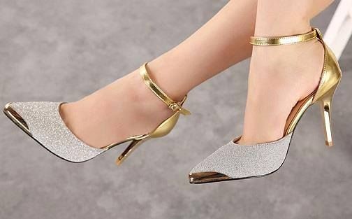 gold   Heels, Shoes
