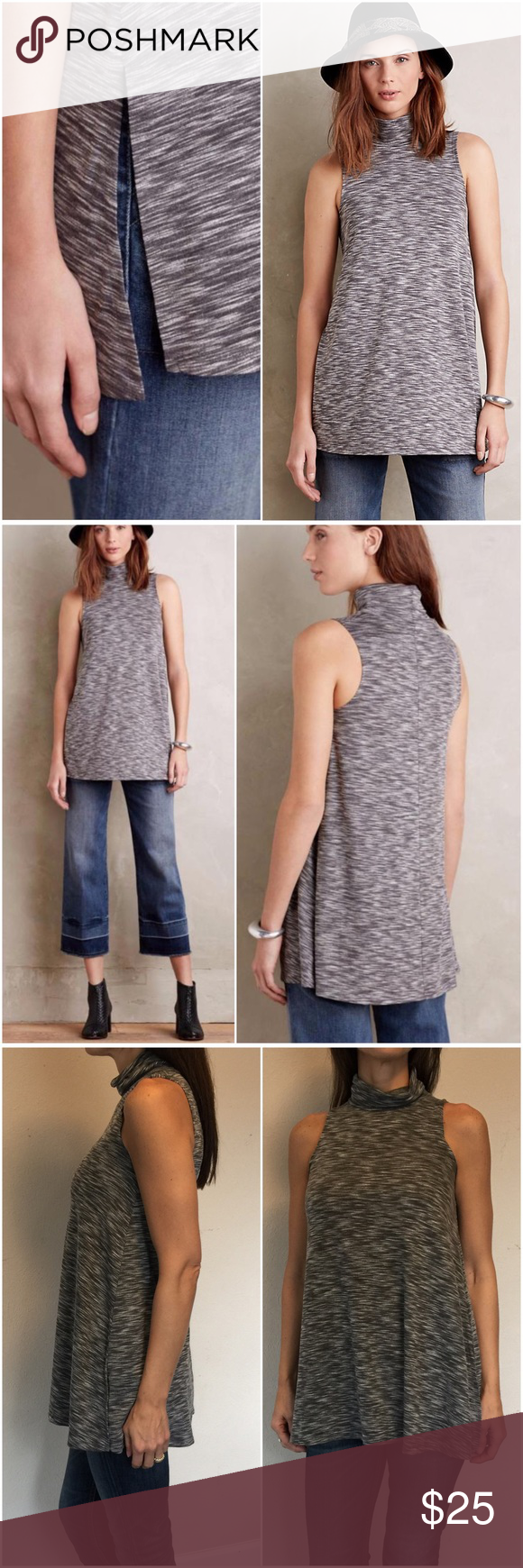 25e808f37b5 Anthropologie Postmark Slit Tunic Tank Anthropologie by Postmark Slit  Turtleneck Tunic Tank in heathered grey Rayon-spandex knit. Like new.