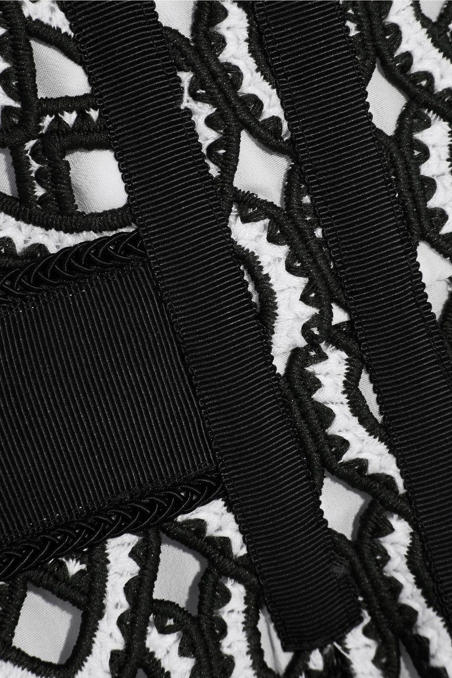 Grosgrain-trimmed Crocheted Lace Midi Dress - Navy Self Portrait Cheap Sale Visit New kZruXV