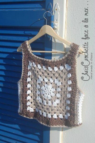 Top Granny Vintage Chriscrochette Face à La Mer Crochet